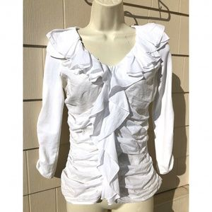Anne Fontaine White Ruffle Zip Top Blouse Size 38